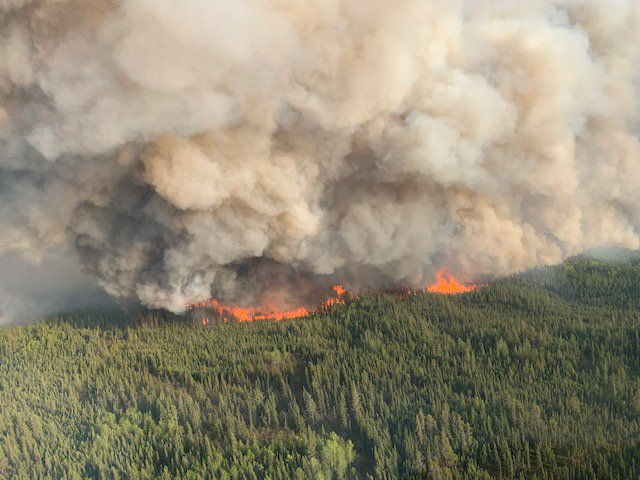 A new wildfire has started 14 kilometers southeast of Trout