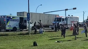 Ponoka RCMP looking for video of protester hit by truck