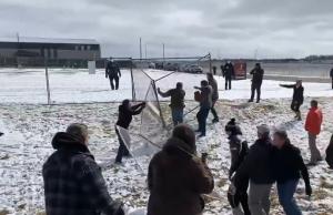 Protesters tear down then rebuild metal fences, denounce closure of GraceLife church